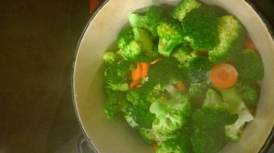 Carrots and broccoli steaming together
