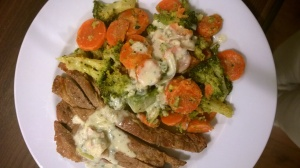Creamy veggies and pork chops