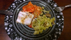 Tamari and mustard fish with tomatoes, mushroom and green cabbage