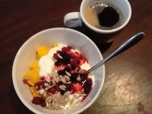 Mango, berries, full fat yoghurt and sunflower seeds