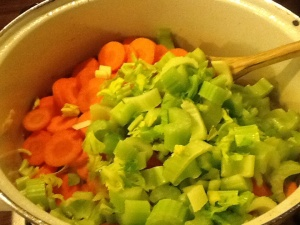 Fry onions first, then add leek, celery and carrots, and finally garlic, capers and bay leaf. Season well.